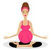 Werdende Mutter sitzt in der Haltung von Lotos | Stock Vektrografik