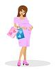 junge schwangere Frau mit Kauf