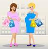zwei junge schwangere Frau mit Kauf
