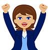 Business-Frau ist froh, wogenden Hände nach oben