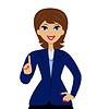 Business-Frau stieß auf einen Zeigefinger nach oben