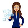 Business-Frau drückt einen virtuellen Zeigefinger