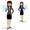 zwei Business-Frauen drücken virtuellen Zeigefinger