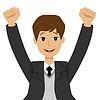erfolgreicher Geschäftsmann wogenden Hände nach oben,