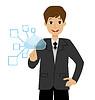 Geschäftsmann drückt einen virtuellen Zeigefinger-Taste