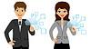 zwei Geschäftsleuten Pressezeigefinger virtuellen Tasten