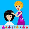 Frau im Beauty-Salon macht Frisur