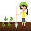junge Frau pflanzt Kindertransplantation im Boden