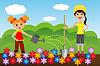 Mutter mit Tochter Pflanze blüht im Boden | Stock Vektrografik