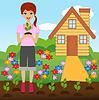 junge Frau Pflanze Blume im Boden