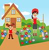 Mutter mit Tochter Pflanze blüht im Boden