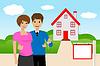 junge Paar mit Schlüssel in der Hand auf Hintergrund neue Haus