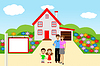 Familie mit zwei Kindern auf Hintergrund neue Haus