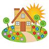 Красивый дом с цветущим садом | Векторный клипарт