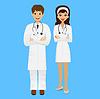 zwei junge Ärzte, Mann und Frau auf blauem Hintergrund