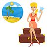 Frau sitzt auf Koffer mit Karten in der Hand Sätze