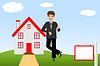 junger Mann mit Schlüssel in der Hand auf Hintergrund neue Haus
