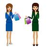 zwei Business-Frauen mit Kreditkarten und Käufe