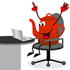 fröhlich rot Teekanne Arbeiten nach Notebook