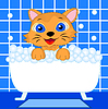 fröhlich Kätzchen badet im Bad