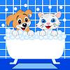 fröhlich Kätzchen und Hund in Bad Bad