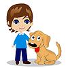 fröhlich kleiner Junge mit Hund
