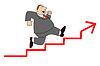dicke Geschäftsmann eilt nach oben auf Treppe