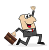 fröhlich Geschäftsmann eilt mit Aktenkoffer auf der Arbeit