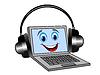 Веселая ноутбук в гарнитуру слушать музыку | Векторный клипарт