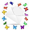 Векторный клипарт: конверт с листа бумаги и бабочек