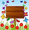 Векторный клипарт: фон с цветами и бабочками