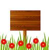 Векторный клипарт: фон с деревянным столом и красными цветами