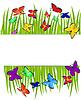 Векторный клипарт: фон с зеленой травой и бабочек