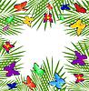 Векторный клипарт: фон с зелеными листьями и бабочками