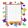 Векторный клипарт: ноутбук, карандаш и бабочка