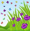 Векторный клипарт: фон с фиолетовыми цветами и бабочками