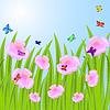 Векторный клипарт: фон с розовыми цветами и бабочками