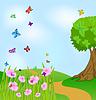 Векторный клипарт: Летний пейзаж с цветами и бабочками
