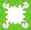 Векторный клипарт: фон с цветами и божьих коровок