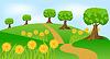 Векторный клипарт: Летний пейзаж с цветами