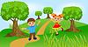 Векторный клипарт: дети играют зеленую лужайку