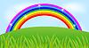 Векторный клипарт: Летний пейзаж с радугой и зеленой траве