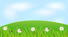 Векторный клипарт: фон с цветами ромашки и божьих коровок