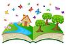 offenes Buch mit Sommer-Landschaft