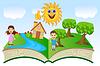 Векторный клипарт: открытая книга с детьми и летний пейзаж
