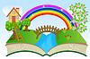 Векторный клипарт: открытая книга с летний пейзаж