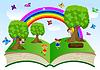 offenes Buch mit Kindern und Sommer-Landschaft