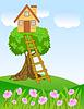 Векторный клипарт: Летний пейзаж с домом на дереве и цветы