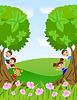 Векторный клипарт: дети выглядывают из деревьев