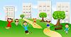 Векторный клипарт: дети играют зеленую лужайку возле шага домов